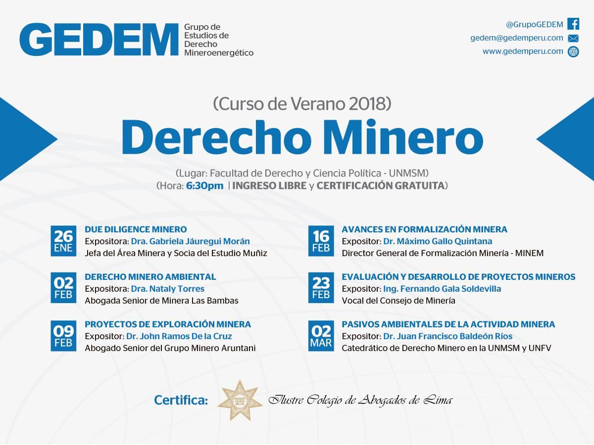 GEDEM - Curso de Verano 2018 - Derecho Minero